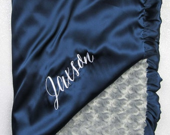 Minky blanket, embroidered blanket, personalized blanket, graduation gift, navy blue satin, silky, satin and minky, blanket with name