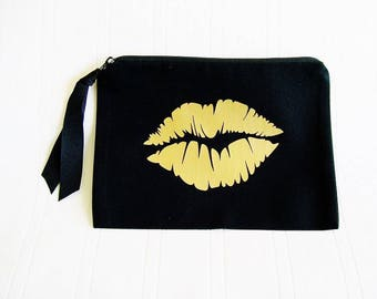 "Lipstick Bag Make Up Bag 5""x7"" Black with Black Zipper Cloth Wallet Personlized Cosmetic, Lip Sense Lip Boss Gloss Boss Lipstick Purse"