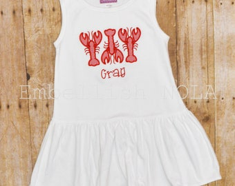 Crawfish Applique Monogrammed Sleeveless Dress