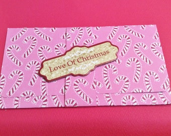 Christmas money/gift/check card holder, Pink, Candy Canes, Glitter, Candy, Matching Band, A Merry Christmas, Love of Christmas, red envelop