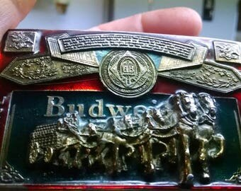 Vintage 1982 Brass BUDWEISER Belt Buckle