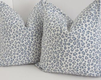 Pillow Covers - Blue Cheetah Pillow Cover - Pillow Cover - Blue Leopard Pillow - Blue Cheetah Print Pillows- Light Blue Pillow
