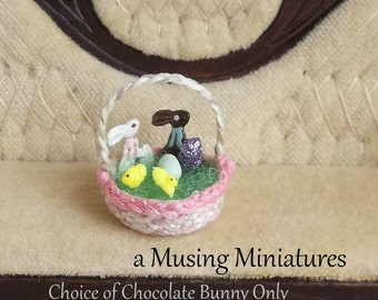Your CHOICE Chocolate Bunny in 1:12 Scale for Dollhouse Miniature Easter Basket or Sweet Shop
