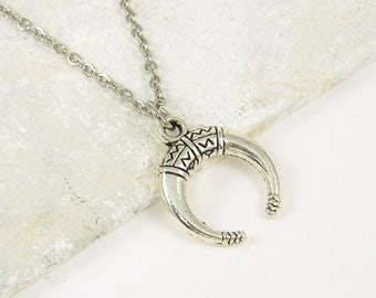 Double Horn Necklace, Silver Tribal Crescent Necklace, Boho Jewelry |NC2-13