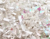 Crinkle Cut Paper Shred - WHITE and IRIDESCENT  4oz - Gift Basket Filler, Packing Materials