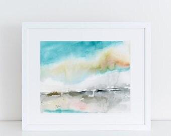 Modern Art, Watercolor Print, Minimalist Print, Abstract Art Print, beach, pink, Landscape art print, Expressionist
