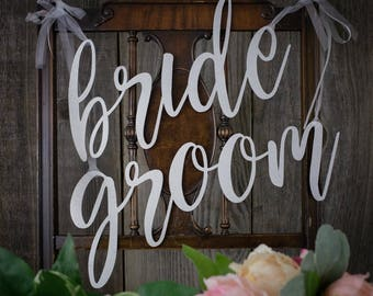 Copper Leaf Wedding Chair Signs, Bride and Groom, Silver Leaf Chair Signs, Gold Leaf Chair Signs for Weddings, Made in the USA