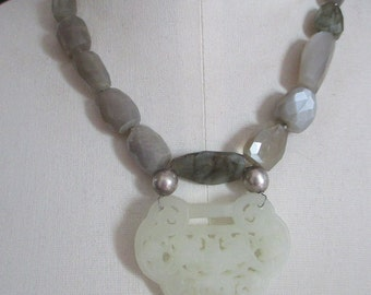 SALE Carved jade necklace with moonstone and labradorite necklace Statement necklace reflective moonstone bat motif