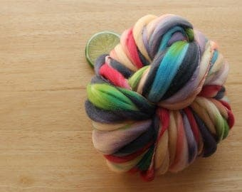 Full Bloom - Handspun Hand Dyed Wool Yarn Green Red Purple Thick and Thin