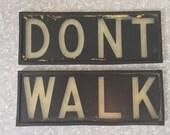 Walk/Dont Walk Vintage 1950-60's Manhattan New York City NYC Traffic Signal Marbelite Co Light Sign Inserts