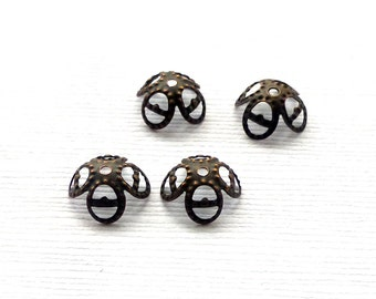 Brass Filigree Bead Caps. Flower Bead Caps. Brass Filigree Findings. Victorian Bead Caps. 8mm-10mm. Thirty (30).