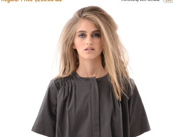 SALE 50% OFF Chic and Trendy Grey Womens Shirt Dress with Hidden Zipper, Short Sleeve Fashion Dress for Everyday Wear, Casual Oversized Clas