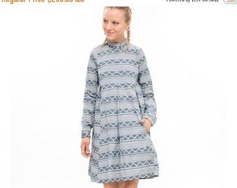 Denim dress, Print denim,  Oversized Fashion Dress for Winter, Long Sleeve Loose and  Relxed Fit Boho Dress