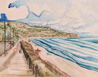 Redondo Beach, CA Landscape - Original Watercolor