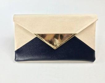 Navy Envelope Clutch, rose gold bridesmaid clutch, gold bridesmaid purse, silver bridal clutch, blue wedding gift set, gift for her
