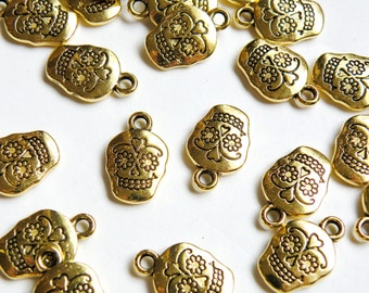 10 Sugar Skull Charms Day of the Dead skeleton antique gold 18x12mm P21061AG