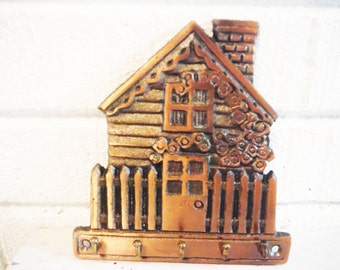 Copper key rack storage house shaped housewarming gift wall mount entry decor cottage