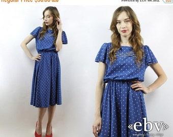 Vintage 80s Blue + White Polka Dot Midi Dress S M Blue Dress Flutter Dress Summer Dress Polka Dot Dress Day Dress Work Dress Secretary Dress