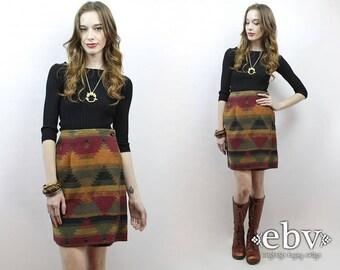 Southwestern Skirt Southwest Blanket Skirt 90s Skirt 1990s Skirt Navajo Skirt Wrap Skirt Hippie Skirt Hippy Skirt High Waisted Skirt XS S