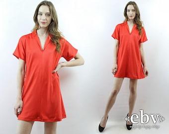 70s Dress 1970s Dress 70s Party Dress Red Dress Orange Dress Salmon Dress Simple Dress Mini Dress 70s Mini Dress Summer Dress S M L