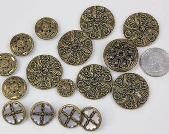 Vintage Buttons Metal Filigree Decorative Shank Buttons Twinkle Back Buttons 16 Buttons #90