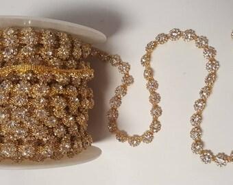 RHINESTONE CLEAR Crystal Chain Trim Gold Wedding Cake Rhinestone Crystal Sewing Headband Craft Trim Yard Drop Crystal Trim CLOSEOUT