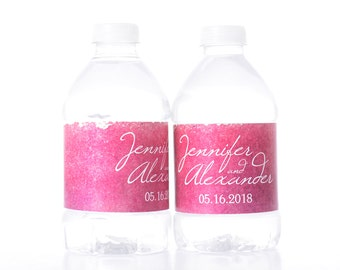 Watercolor Water Bottle Labels - 30 Personalized Wedding Water Bottle Labels - Wedding Bottle Wraps - Personalized Bottled Water Labels