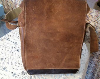 Aunts & Uncles Leather Purse Sized Satchel or Tablet Carrier with Cross Body Adjustable Strap