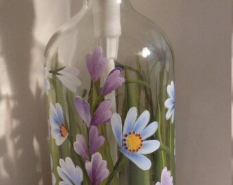 hand painted soap/lotion pump dispenser, blue and purple wildflowers