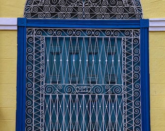 """Cuba Photography, """"Blue and Yellow Window"""", Travel Photography, Colonial Architecture, Customizable Sizes and Canvas Available on Request"""