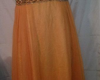 "BIG HOLIDAY SALE 60s Vintage Beaded Bodice Chiffon Evening Gown-Waldorf-Cosplay-Prom-Wedding-Cruise-Size 6-Medium-38"" Bust-Jackie o-"