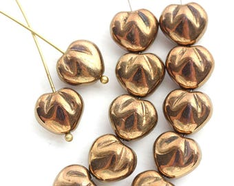 10mm Puffy Golden Heart beads, Gold luster over Blue czech glass pressed beads - 10Pc - 1854
