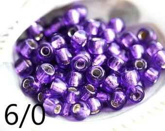 TOHO Seed beads, size 6/0, Silver-Lined Purple, N 2224, round tanzanite beads, japanese glass - 10g - S337