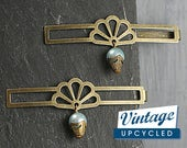 Art Deco style hair clips with vintage charms. Set of two. Gold and blue. Hair pins. Hair accessory. Something old, something new
