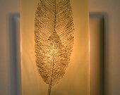 Golden Feather Fused Glass Night Light