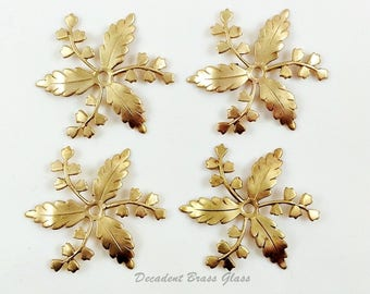Brass Leaf Spray, Bridal Headpiece Supply, Wedding Head Band, Leaf Embellishment, Raw Brass Stamping, 33mm - 4 pcs (r321)