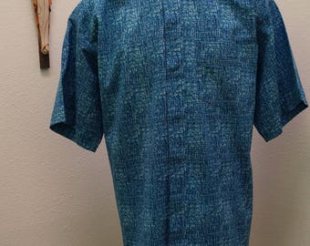 "CAMP Clerical shirt denim weave look. LARGE with 16"" TAB collar. Ready-made. Untucked style"