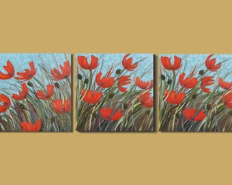 FREE SHIP abstract art, modern art triptych of poppies, poppy painting, panoramic painting of poppies, field flowers, red floral canvas art