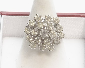 Vintage 1980's 18K White Gold Plate Crystal Cocktail Ring Gift For Her Size 7 on Etsy