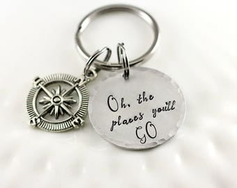 Personalized keychain - Oh the places you'll go - Compass keychain - Graduation gift - Hand stamped keychain - Gift for grad - Sweet 16