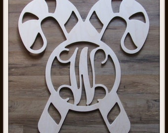 """Candy Cane Door Hanger with Letter - Unpainted Wood - 22"""" size - Family - Holiday - Christmas - Wooden Letter - Wall Hanging - Monogram"""
