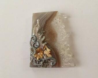 Amethyst Quartz Druzy Polymer Clay Snowflake Lady Cabochon
