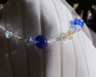 Cobalt Blue and Crystal Rainbow with White Lined Luster Glass Bead Bracelet