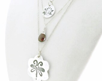Fine Silver Sterling Silver Triple Strand Necklace with DragonFly, Lotus Flower and Garnet Gemstone - PMC Necklace - Zen Necklace - OOAK