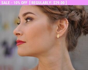 SALE!!! Bridal Diamond Earrings , Oval Diamond Earrings , Diamond Shape Studs , Bridesmaids Small Earrings , Bridal Studs , Bridesmaids J...