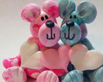Polymer clay bears,  couple, bears with hearts, hearts that can be personalized, whimsical love bears, Valentines gift,