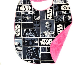 Star Wars Baby Bib, Newborn Bib Or Baby Toddler Bib, Baby Gift, Star Wars Baby Girl Baby Boy, Nerd, Minky, Geek Baby Gift, Made To Order
