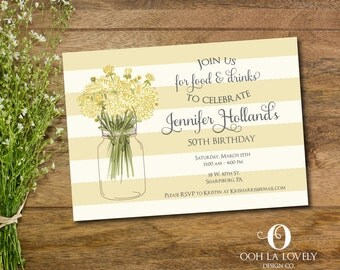 Yellow Bridal Shower Invitation, Birthday invite, Retirement party invitation, DIY, Printable, Summer Party Invite