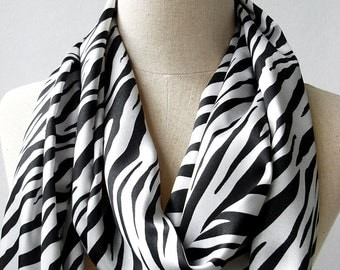 Black and White Zebra Print Silky Satin Loop Infinity Circle Scarf, Animal Print Scarf