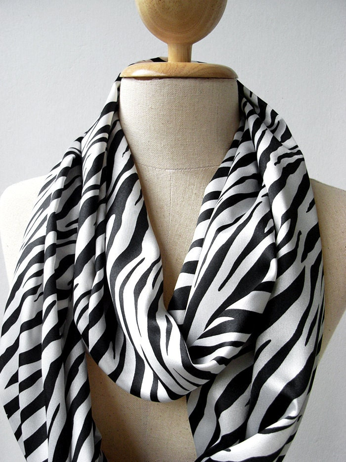 Black and white zebra print silky satin loop infinity circle scarf animal print scarf